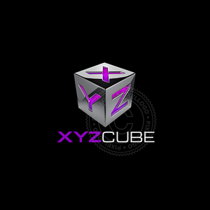 XYZ Cube 3D logo - Metal box with engraved letters | Pixellogo