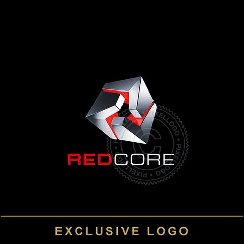 3D Metal Box - Red Core Logo - Pixellogo
