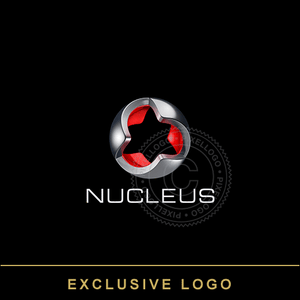 Nucleus 3D Metal Logo - Steel Sphere with Red Core | Pixellogo