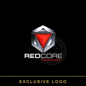 3D Steel Box - Red Core Logo - Pixellogo