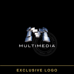 3D Multimedia 3D Logo - Steel blocks M logo | Pixellogo