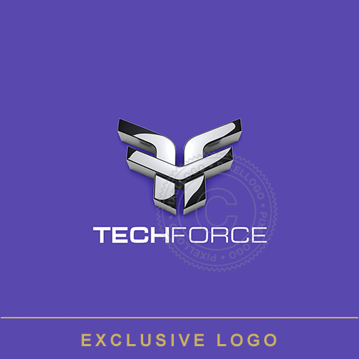 Tech Force 3D F Logo - Aviation Logo | Pixellogo