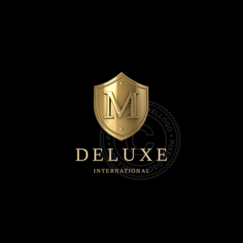 3D Gold Emblem - Luxury 3D Gold Shield logo | Pixellogo