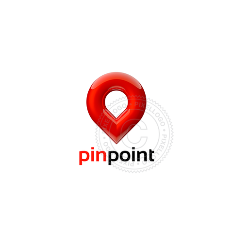 3D Pin Logo - Red Pin Logo template | Pixellogo