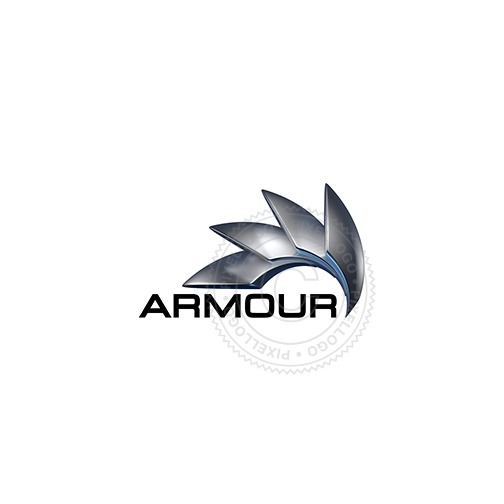 3D Steel Armour Logo - Metal Protective Shield Logo | Pixellogo