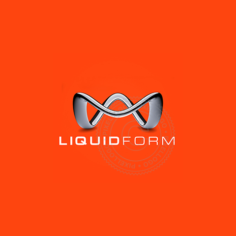3D Liquid M Logo - Chrome Metal line with M form | Pixellogo