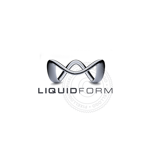 3D Liquid M Logo - Liquid Metal line with M form | Pixellogo