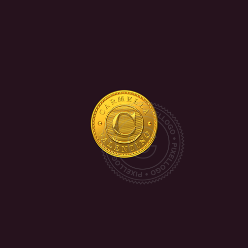 Personalized Gold Coin logo - 3D Luxury Logo | pixellogo