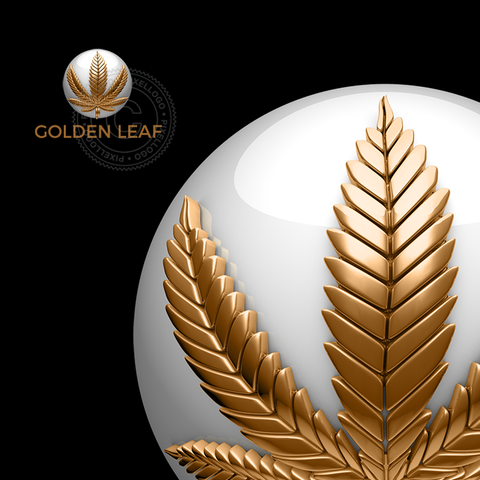 3D Gold Cannabis Shop logo - Pixellogo