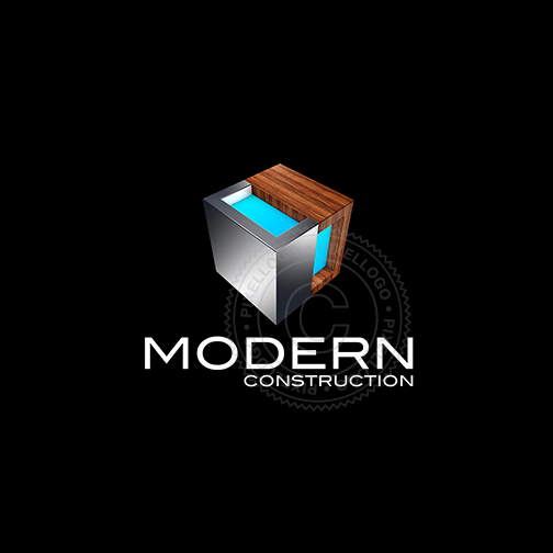 3D Modern Construction Studio logo - designed in metal and wood | Pixellogo