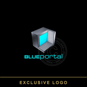 3d Portal Box Logo - Steel Box with virtual portal window | Pixellogo