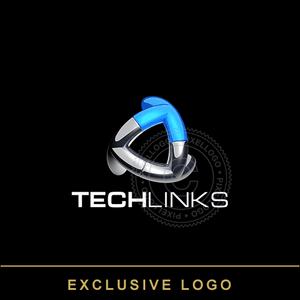 3D Tech Links Logo - 3 Metal T Pipes interconnected | Pixellogo