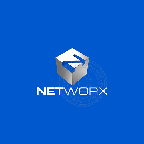 3D Network Logo - White Box with N