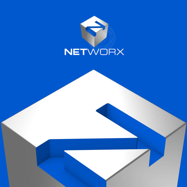 Network Box 3D logo - Letter Engraved on blue Box | Pixellogo