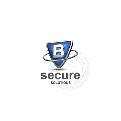 Blue shield letter B logo - metal ring around Metal shield | PIxellogo