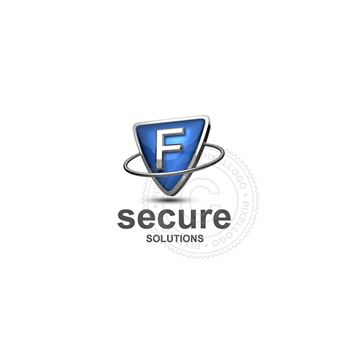 Blue shield letter F logo - metal ring around Metal shield | PIxellogo