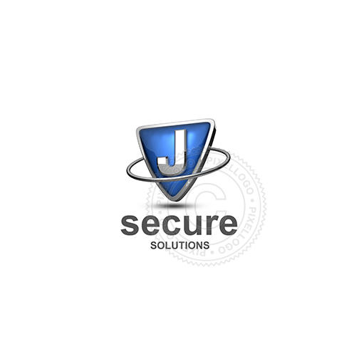 Blue shield letter J logo - metal ring around Metal shield | PIxellogo
