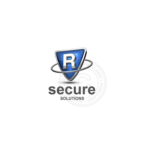 Blue shield letter R logo - metal ring around Metal shield | PIxellogo