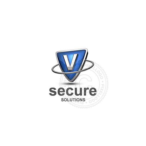 Blue shield letter V logo - metal ring around Metal shield | PIxellogo