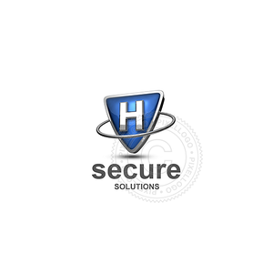 Blue shield letter H logo - metal ring around Metal shield | PIxellogo
