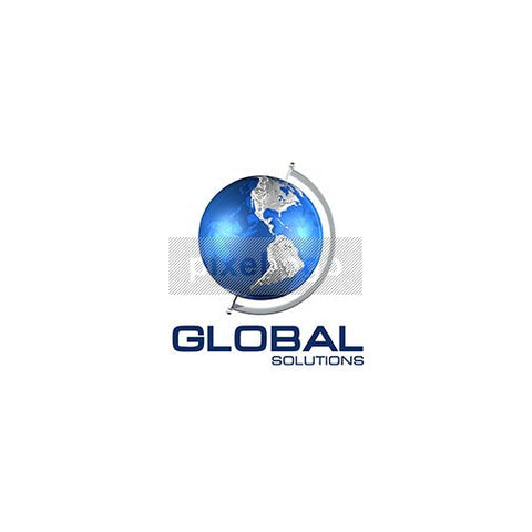 Blue Globe on Axis 3D Logo 3D-63 - Pixellogo