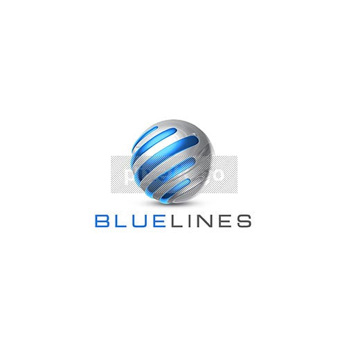 Chrome Globe with Blue Streaks 3D Logo 3D-706 - Pixellogo