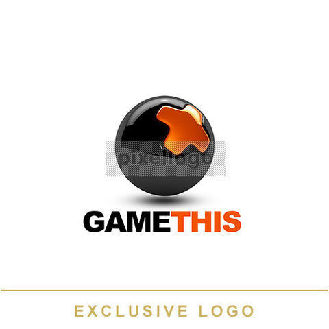 X Gamer Black Ball logo 3D-EX-951 - pixellogo