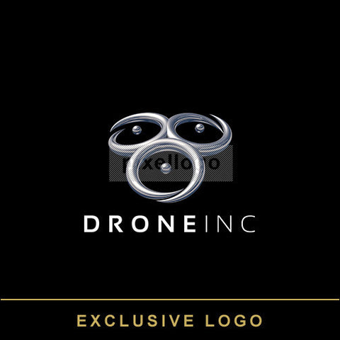 3D Drone logo - chrome rings | Pixellogo