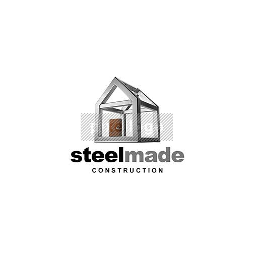 Steel Made Construction 3D House Logo in PSD Format