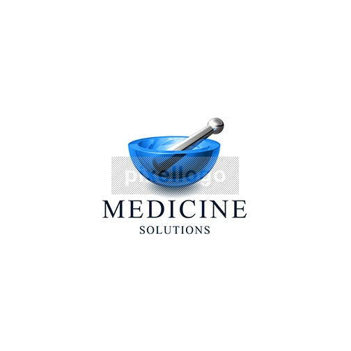 Medicine 3D Mortar and Pestles Logo 3D-510 - pixellogo