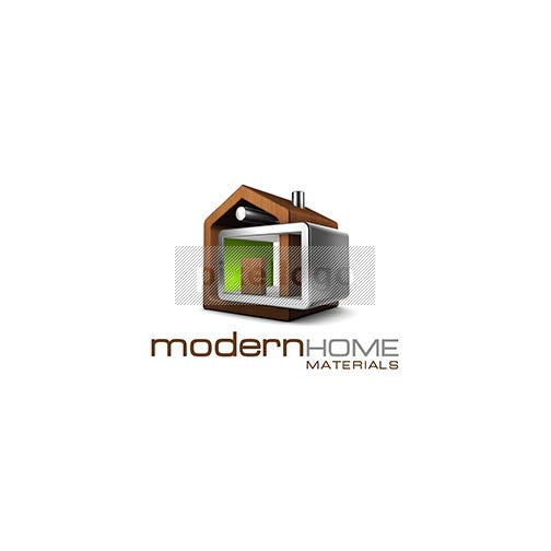 Modern Home 3D Real Estate Logo 3D-512