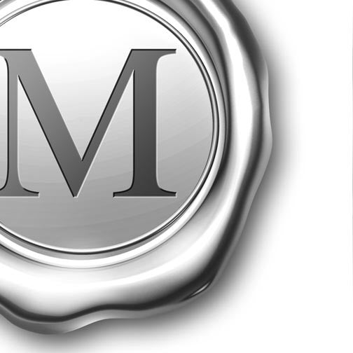"Letter ""M"" Platinum Wax Stamp-3D Non Exclusive-Pixellogo"