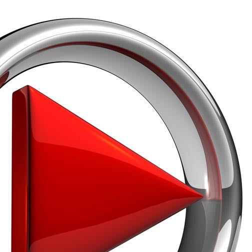 Play Button With Red Arrow 3D - Pixellogo
