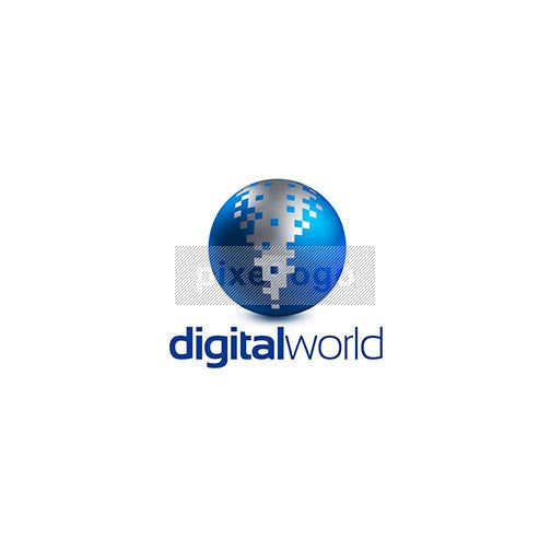 Digital World Logo 3D-910 - Pixellogo