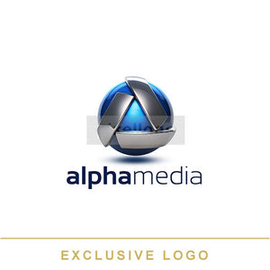 Blue Sphere Alpha Media logo 3D-EX-963 - Pixellogo