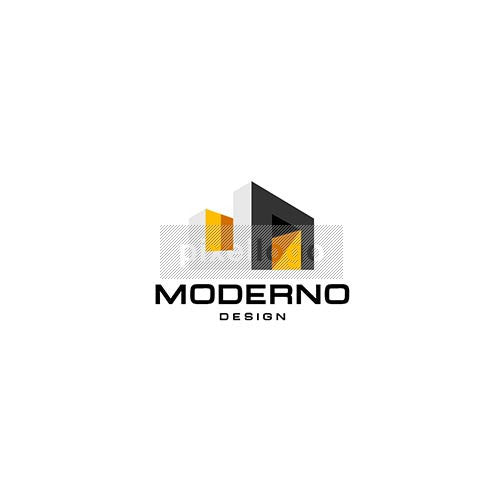 Modern home design logo building with u and n logodive for Modern house logo