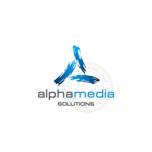 Alpha Brush logo - 3D brush Strokes Logo | Pixellogo