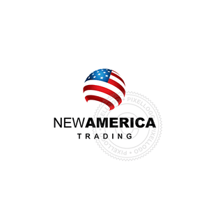 American World Flag - Pixellogo