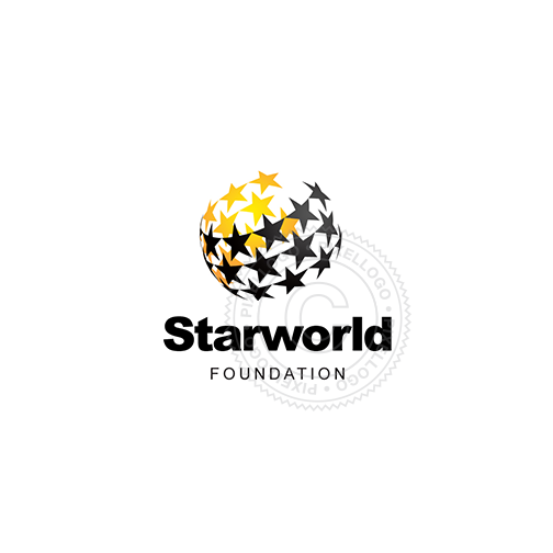 Star world logo - Stars warped around the world | Pixellogo