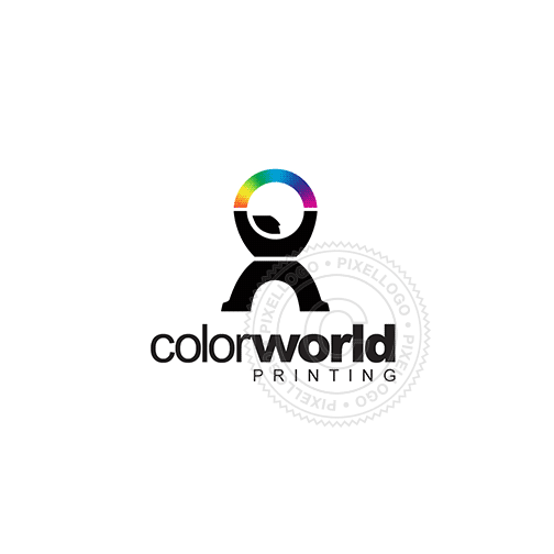 Print Shop - Man Playing With Colors - Pixellogo