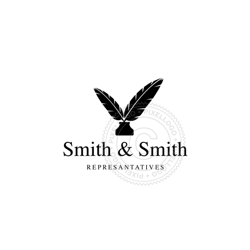 Quill Pen logo - 2 feathers in ink bottle | notary logo | Pixellogo