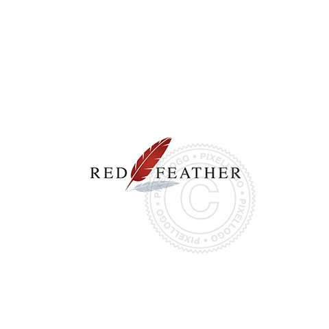 Quill Pen logo - red feather logo - Pixellogo
