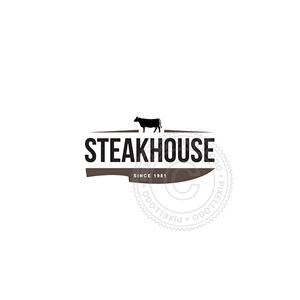 Steakhouse Knife-Logo Template-Pixellogo