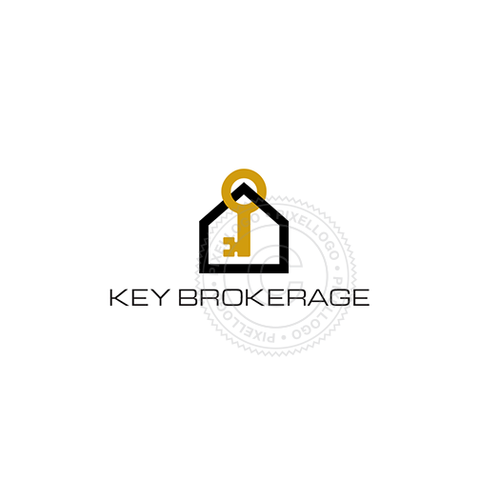 Real Estate Broker - House Gold Key - Pixellogo