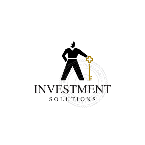 Real Estate Agent - Man Holding Golden Key | Pixellogo