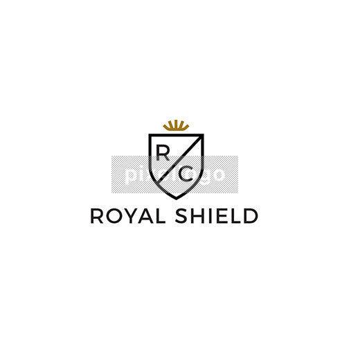 Shield crest logo - Gold crown with shield | Pixellogo