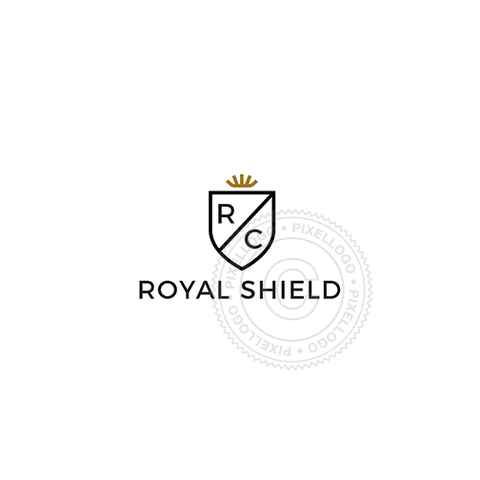 Gold Crown With Shield-Logo Template-Pixellogo