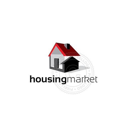 Housing Developer logo - house with arrow | Pixellogo