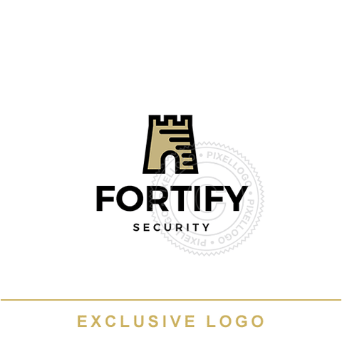 Fortress Logo - black and gold fortress | Pixellogo