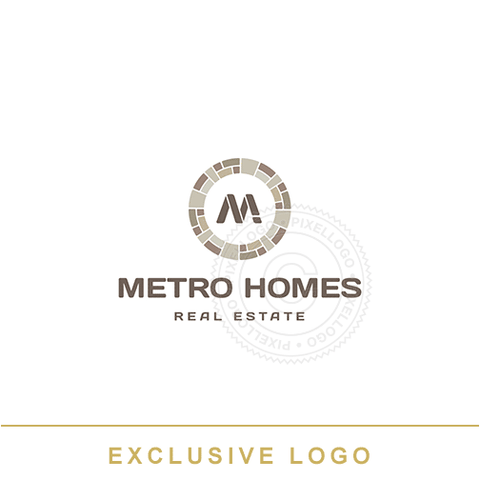 Real Estate - stone interlock logo design | Pixellogo